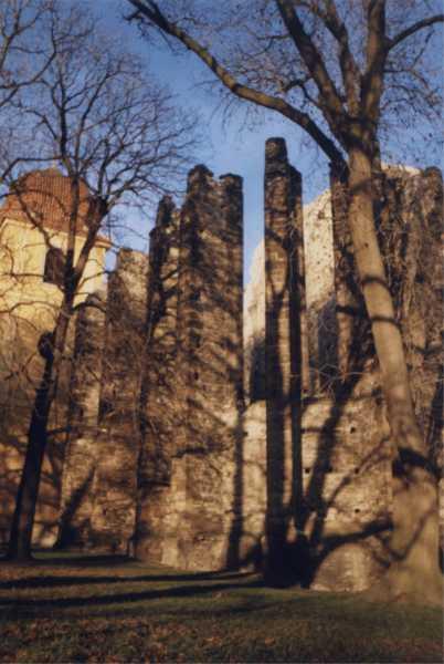 Panenský týnec - pohled na chrám od V